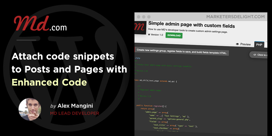 Add code snippets to blog posts with the MD Code Enhanced drop-in