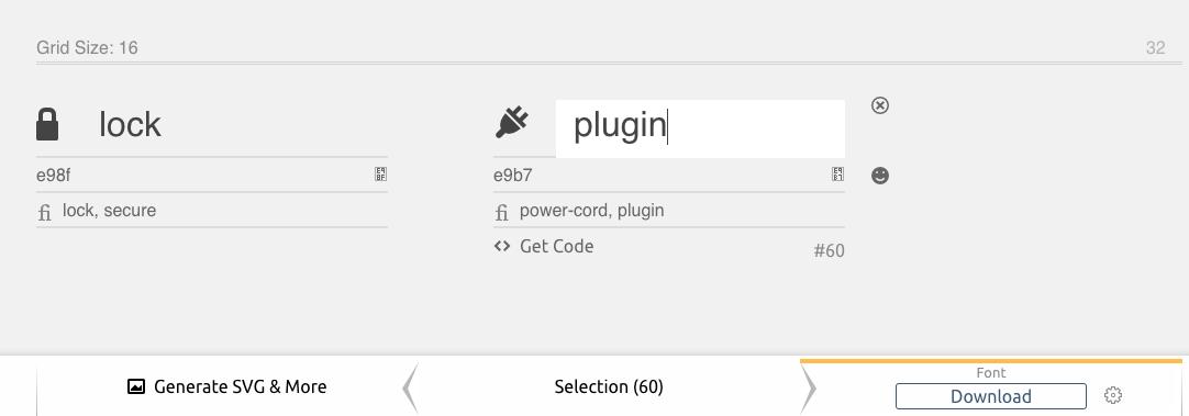 Edit font icon names