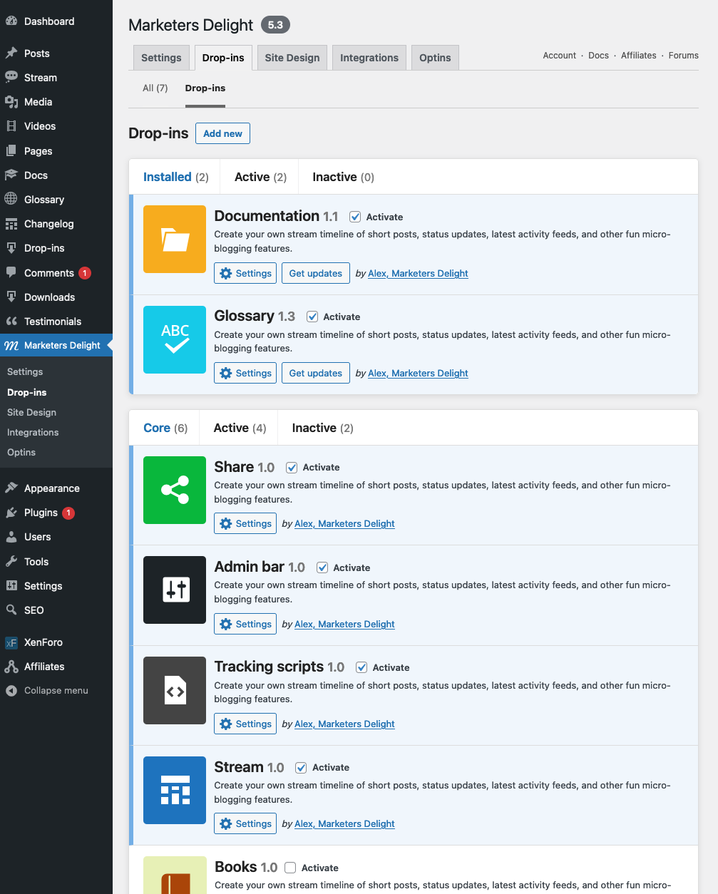 The new MD Drop-ins Manager for WordPress