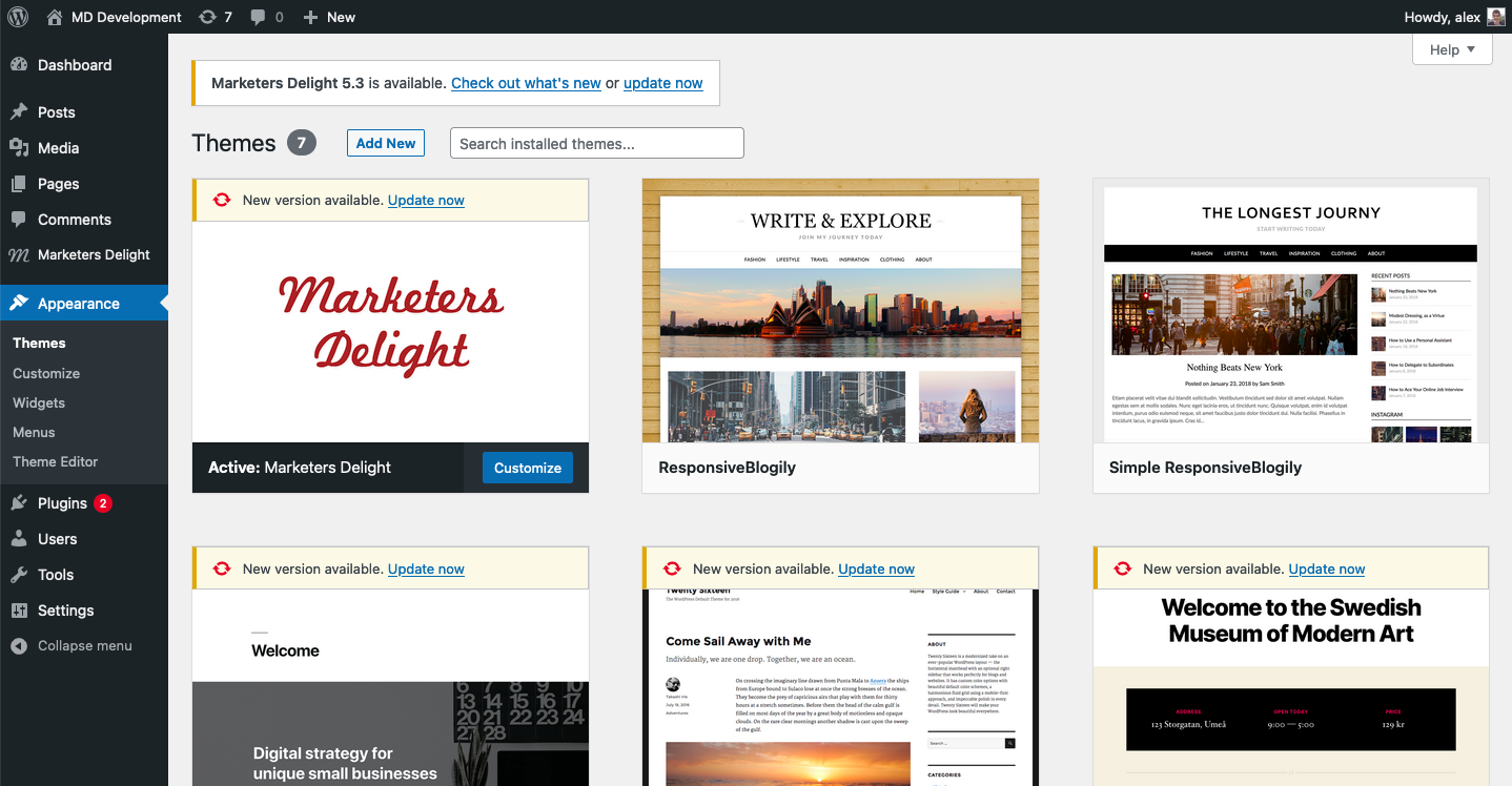 Upgrade to Marketers Delight 5.3 from WP Admin.