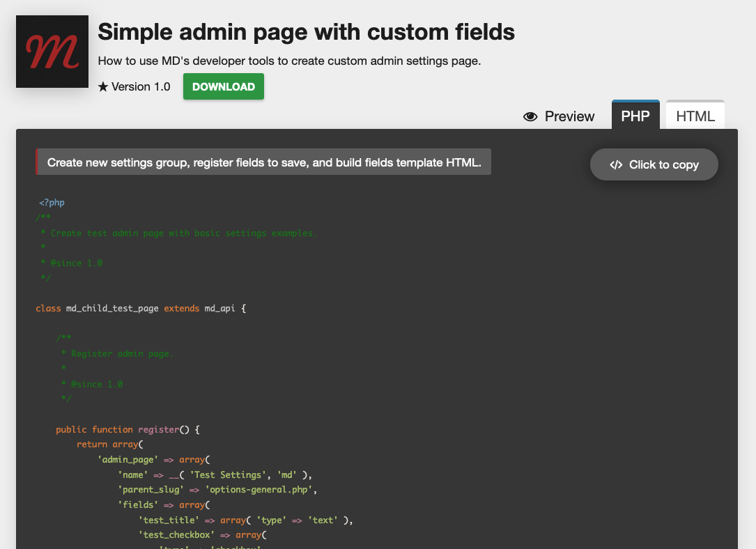 Add custom code snippet blocks to your website.