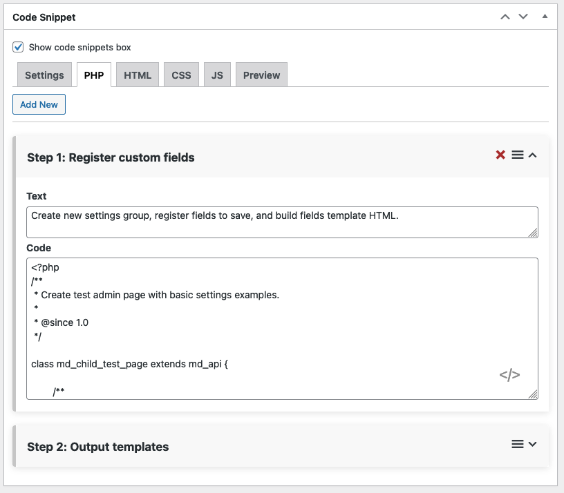 Code snippet blocks manager from the WordPress admin,