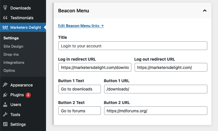 Beacon menu admin settings in MD settings