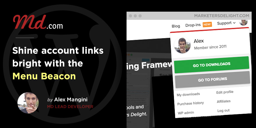 Show login form and account links with the Beacon menu