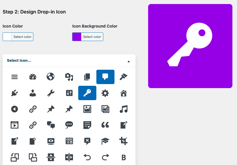 Design your Drop-ins new icon with Dashicons and Live Preview